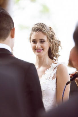 Bride with loose curly updo