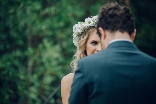 Bride with white flower crown