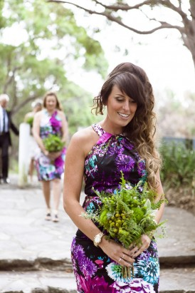 Bridesmaid in printed dress