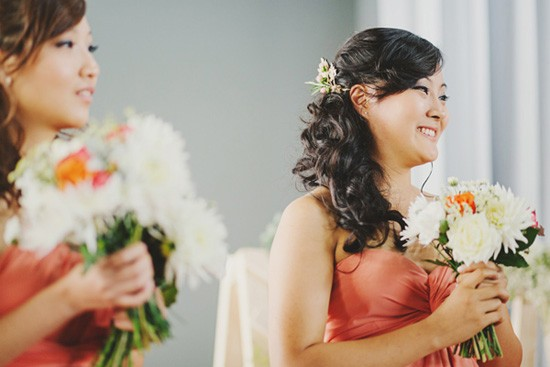 Bridesmaid in vintage apricot