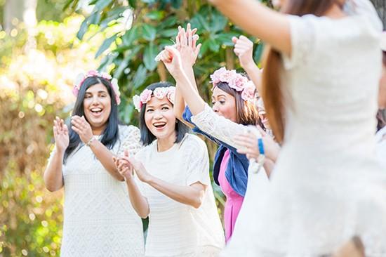 Bridesmaids in cream
