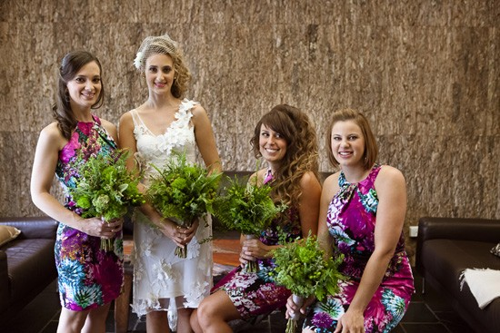 Bridesmaids in magenta dresses