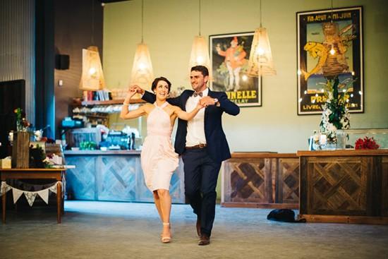 Dancing wedding reception entrance