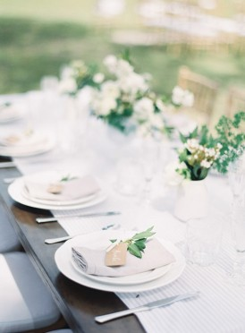 Dark wooden table with white for wedding