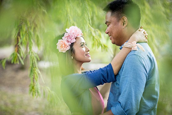 Engagement photo with flower crown