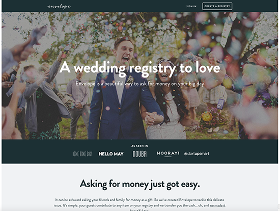 Envelope money wedding registry
