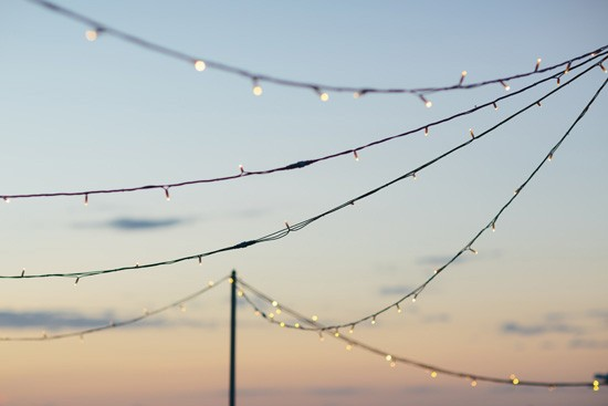 Fairy lights at wedding