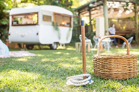 Garden games and vintage caravan