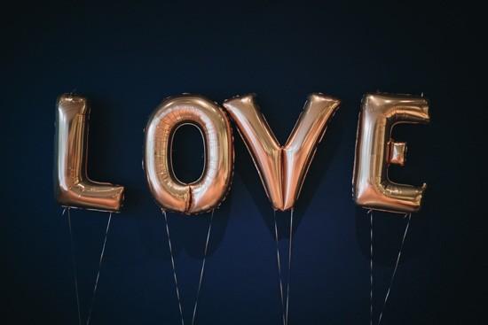 Gold foil love letters