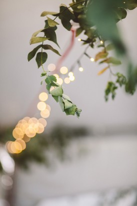 Greenery and faiurlights at wedding