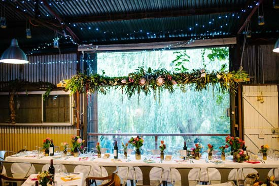 Greenery garland at wedding reception