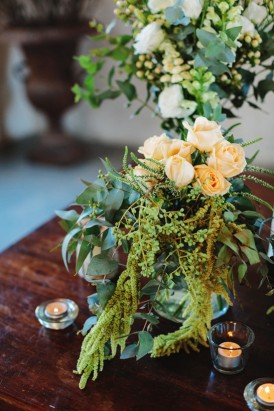 Greenery with peach roses at wedding