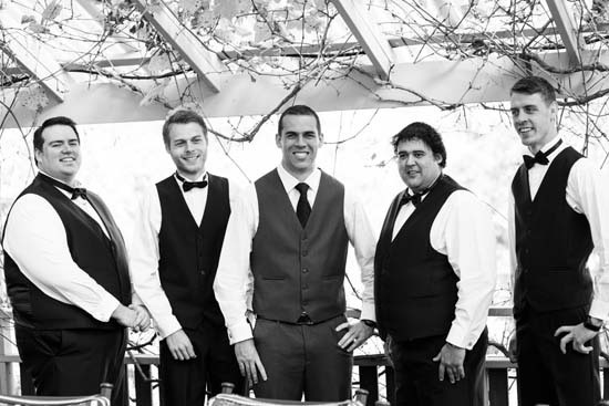 Groom with groomsmen in waistcoats