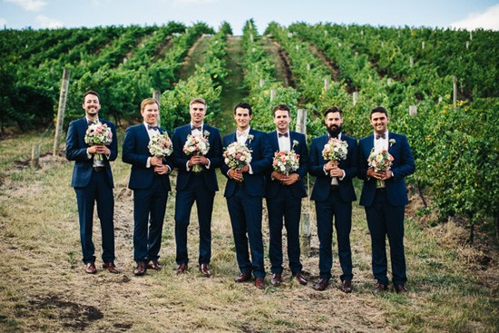 Groomsmen in french navy suits