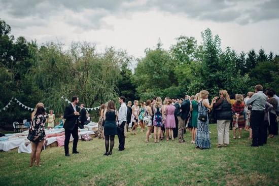 Guests at backyard wedding