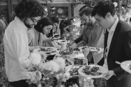 Guests at wedding buffett