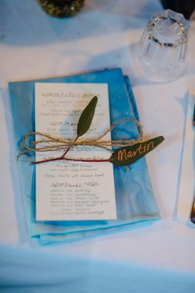 Hand dyed blue wedding napkin
