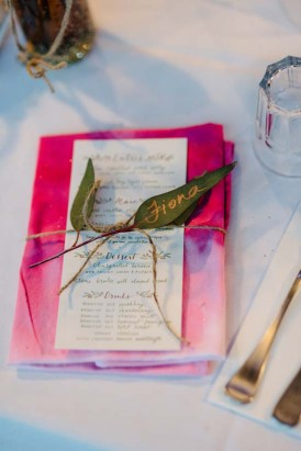 Hand dyed hot pink wedding napkin