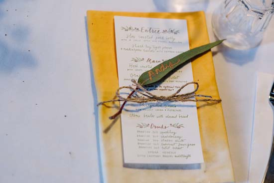 Hand dyed yellow wedding napkin