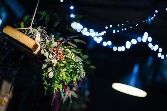 Hanging garland of greenerry at wedding