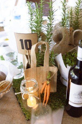 Herb wedding centrepieces