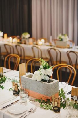 Industrial wedding centrepiece idea
