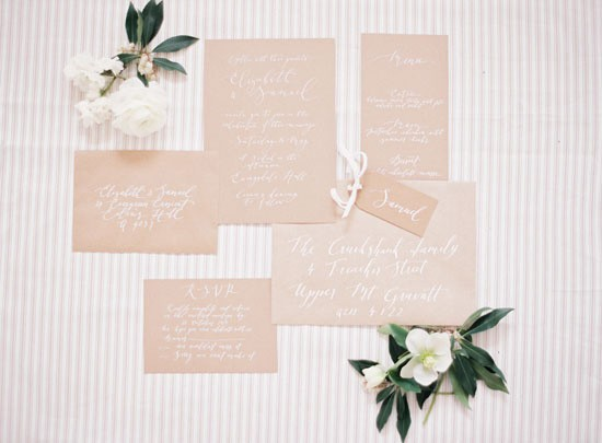 Kraft and white wedding stationery