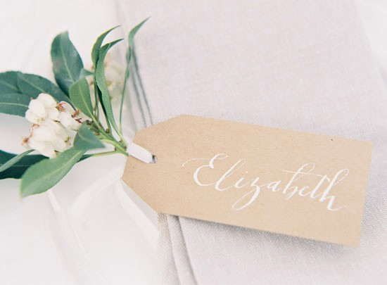 Kraft placecard with white ink