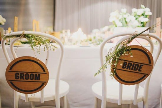 Laser engraved wedding chair signs