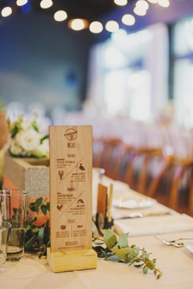 Laser engraved wedding menu