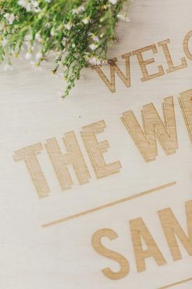 Laser engraved wedding sign