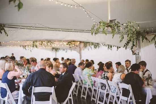 Marquee with greenery and fairy lights