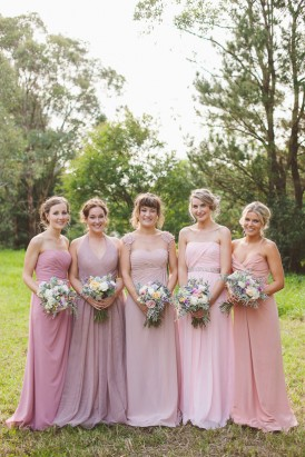Mismatched pink bridesmaid gowns