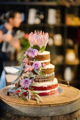 Naked weddinf cake with australian natives