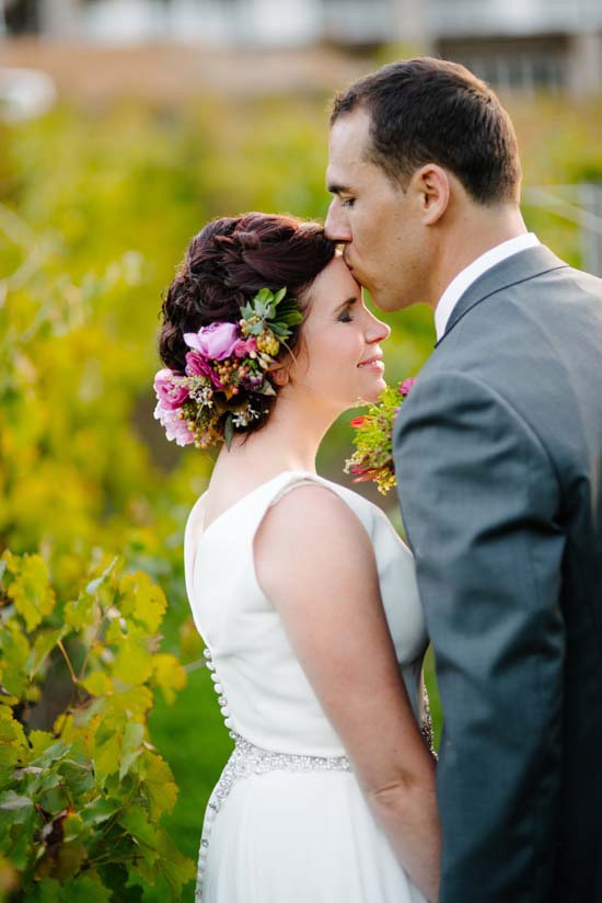 Newly married couple at Brookside Vineyard