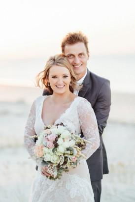 Newlywed Beach wedding photo
