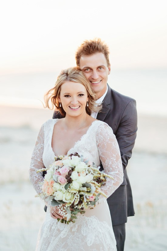 Newlywed Beach wedding photo