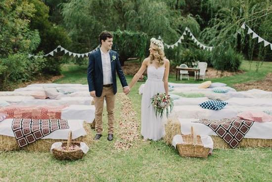 Newlyweds at backyard wedding