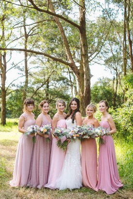 Ombre pink bridesmaid gowns