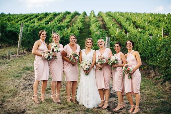 Pale pink Nicolangela bridesmaid dresses