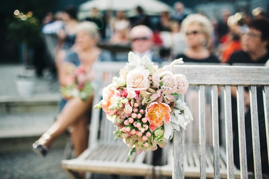 Peach and pink wedding flowers