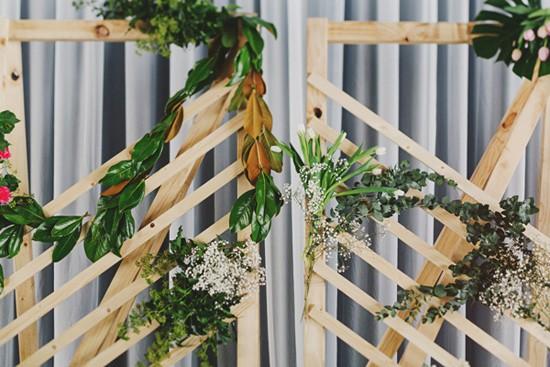 Pine wedding ceremony backdrop