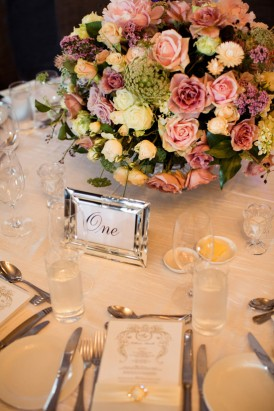 Pink rose wedding centrepiece