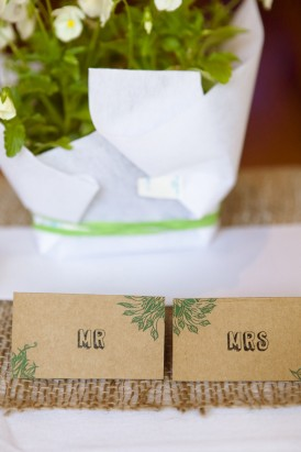 Placecards with green detail