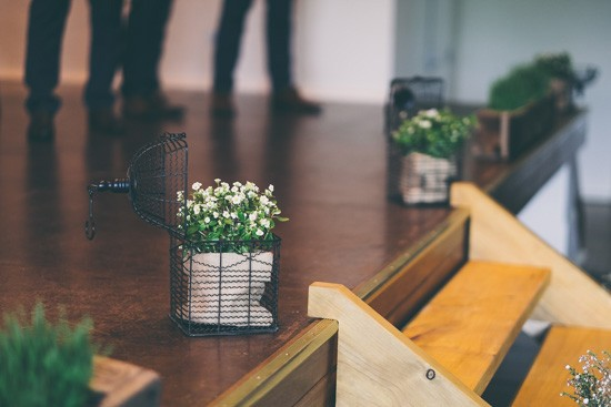 Potted plants at wedding ceremony