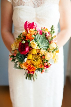 Red yellow and succulent bouquet