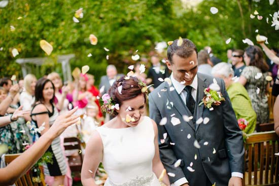 Rose petal exit for newlyweds
