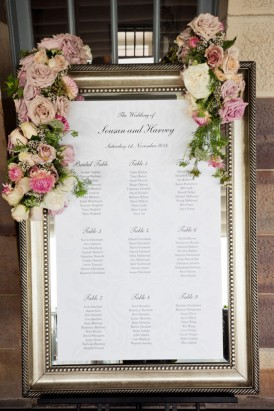 Silver framed seating chart