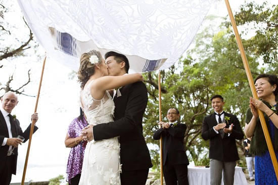 Sydney wedding first kiss