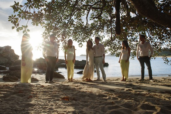 Tropical island bridal party